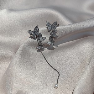 Ladies Sweet Butterfly Tassel Earrings - Silver