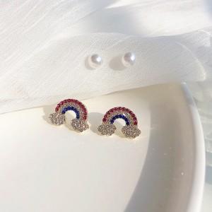 2 Pairs Ladies Rainbow Sweet Earrings Set - Multi Color