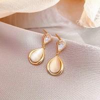 Ladies Opal Sweet Earrings - Golden