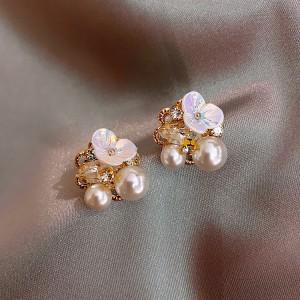 Girls Folwer Pearl Sweet Earrings - White