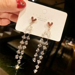 Girls Crystal Tassel Long Earrings - Transparent