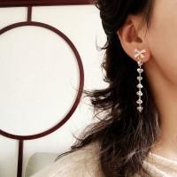Woman Crystal Tassel Long Earrings - Transparent