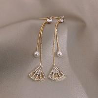 Rhinestone Tassel Long Earrings - Golden