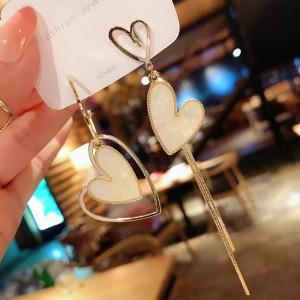Ladies Asymmetric Heart Long Earrings - White