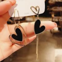 Ladies Asymmetric Heart Long Earrings - Black