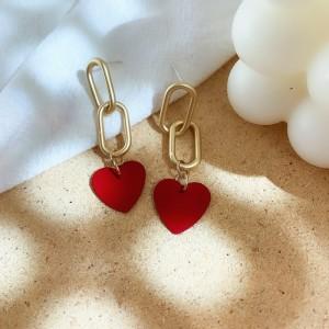 Ladies Heart Chain Fahion Earrings - Red