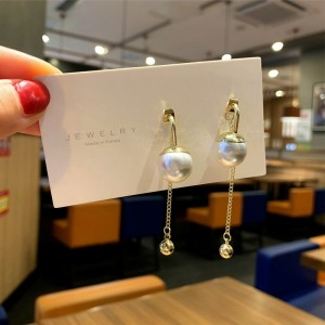 Ladies Pearl Tassel Fahion Earrings - White
