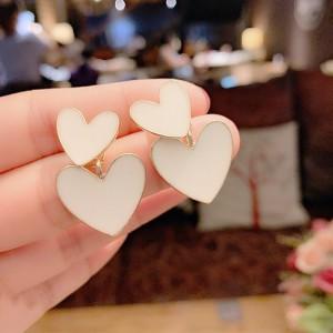 Ladies Double Heart Fahion Earrings - White