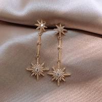 Ladies Star Fahion Long Earrings - Golden