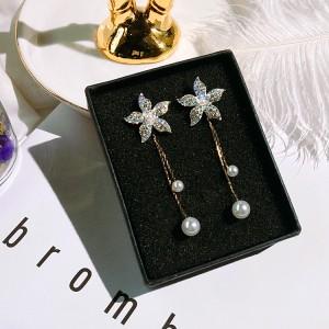 Girls Flower Tassel Long Earrings - Sky Blue