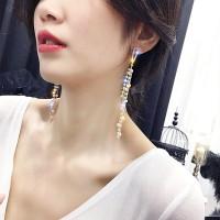 Girls Elegant Pearl Tassel Long Earrings - Golden