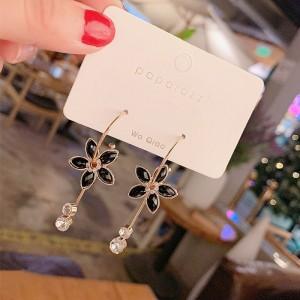Girls Opal Flower Tassel Earrings - Black