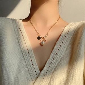 Girls Fashion Heart Chain Necklaces - Golden