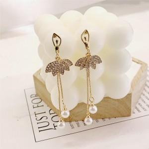 Woman Dance Girls Rhinestone Pearl Earrings - Golden