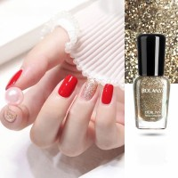 Women Fashion Makeup Water Resistant Glitter Nail Polish - Champagne