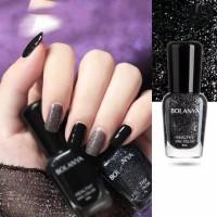 Women Fashion Makeup Water Resistant Glitter Nail Polish - Black