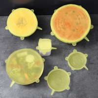 Five Pieces Hygenic Silicon Reusable Covering Lids - Yellow