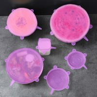 Five Pieces Hygenic Silicon Reusable Covering Lids - Rose Pink