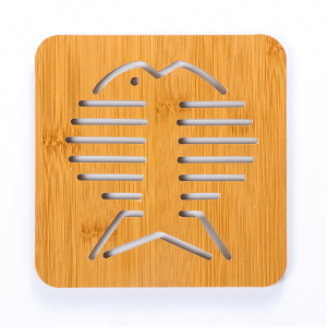Wooden Engraved Kitchen Placement Mat - Gold Fish