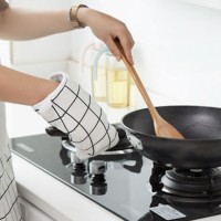 Heat Resistant Checks Printed Cooking Oven Mitt White - One Piece