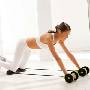 Abdominal Resistance Pull Rope Muscle Trainer Exercise Roller - Green
