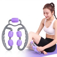 Leg Massager Stick Yoga Body Shaping 4 Wheels Roller - Purple