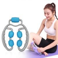Leg Massager Stick Yoga Body Shaping 4 Wheels Roller - Blue