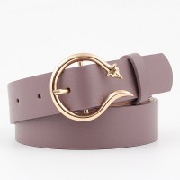 Ladies Fashion New Style Buckle Leather Belt - Light Purple