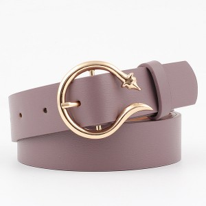 Ladies Fashion New Style Buckle Leather Belt - Light Purple