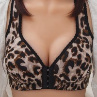 Leopard Printed Hooked Padded Casual Wear Bra - Brown