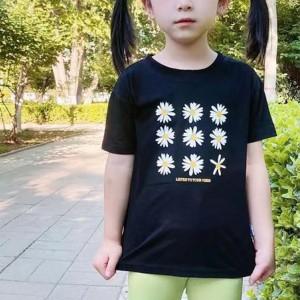 Floral Prints Round Neck Short Sleeves Kids T-Shirt - Black