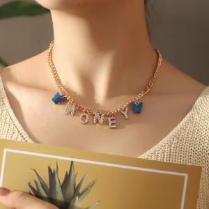 Girls Rhinestone Letter Honery Necklace - Multi Color
