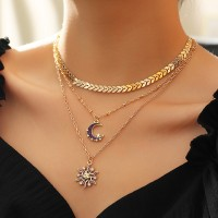 Girls Moon And Star Multi Layer Necklace - Golden