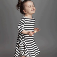 Stripes Print Cute Kids Girl Mini Dress - Black And White