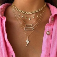 Girls Fahion Star Multi Layer Necklace - Golden
