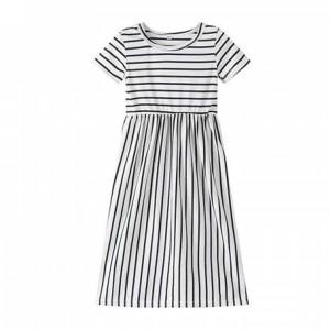 Stripes Print Cute Kids Girl Long Dress - White