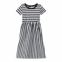 Stripes Print Cute Kids Girl Long Dress - Black and White