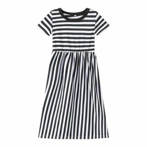 Stripes Print Cute Kids Girl Long Dress - Black and White