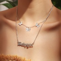 Woman Fashion Butterfly Double Layer Necklace - Silver