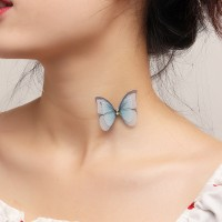Woman Elegant Butterfly Necklace - Blue