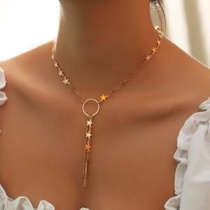 Woman Star Tassel Necklace - Golden