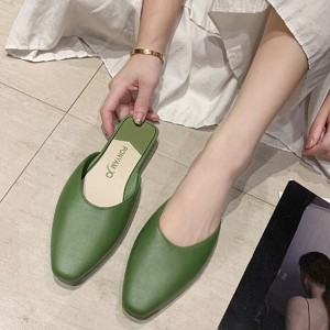 Synthetic Leather Women Fashion Flat Closed Toe Slippers - Green
