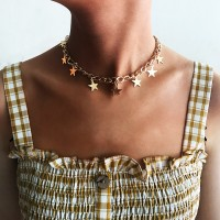 Woman Star Chain Necklace - Golden