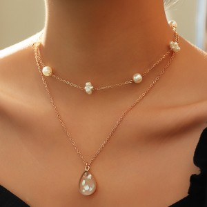 Ladies Crystal Pearl Chain Necklace - Golden