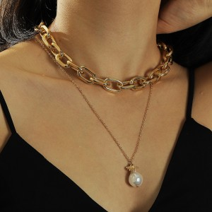 Ladies Pearl Chain Double Layer Necklace - Golden