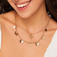 Ladies Elegant Butterfly Chain Necklace - Golden