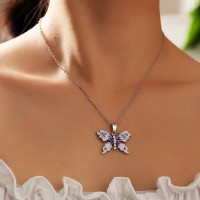 Ladies Fashion Butterfly Necklace - Light Purple