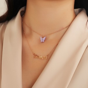Ladies Personality Butterfly Letter Necklace - Light Purple