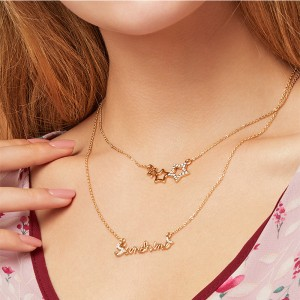 Gold Plated Ladies Star Letter Necklace - Golden
