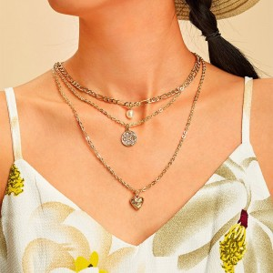 Gold Plated Ladies Chain Fashion Necklace - Golden